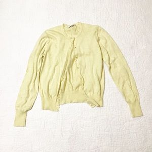 Cabi Pale Yellow Speckled Cardigan